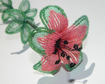 Watermelon Inspired French Beaded Flower