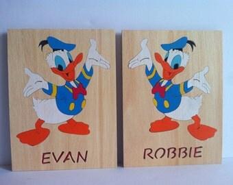 Children duck pair of custom wooden