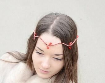 Bridal Tiara, Red Rhinestone Wedding Halo, Bridal Headpiece, Wedding Headpiece, Bridal Crown, Cranberry wedding