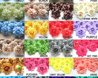 24 mini Silk Roses Heads Single Tone - Artificial Silk Flower - 1.75 inches - Wholesale Lot - for Wedding Work, Make Hair clips, headbands