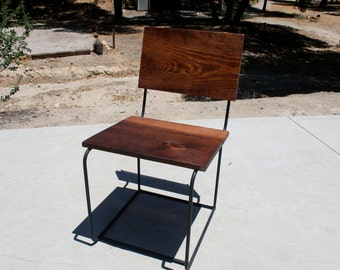 Reclaimed Wood and Solid Steel Chair