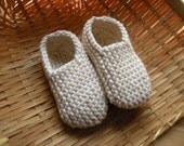 MANI - Baby slippers in pure cotton - off-white - 0/3 months - other size and colors made to order - free shipping worldwide