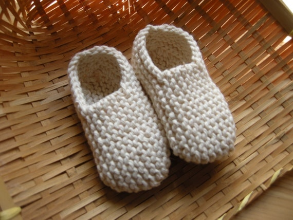 MANI - Baby slippers in pure cotton - off-white - 0/3 months - other colors made to order