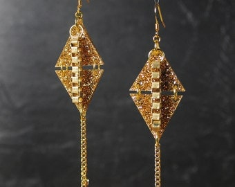 Kites Acrylic and Gold Chain Earrings