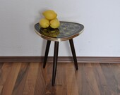 SALE Rare Mid Century Plant Stand. Glass top. Yellow, black and gold design.  Germany.  1950s. Small Coffee Table.