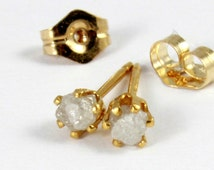 Rough Diamond 3mm Stud Earrings - 14K Gold Filled - Natural White Raw Diamonds, Conflict Free, Unfinished - April Birthstone