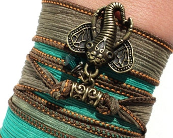 Bohemian Silk Wrap Bracelet Ganesha Yoga Jewelry Unique Sacred Elephant Gift For Her or Him Christmas Stocking Stuffer Under 30 Item K23