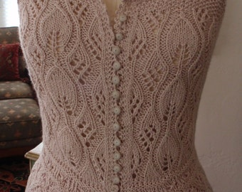 Hand Knit Lace Corset Cover Bodice Antique Victorian Edwardian Downton Abbey Style Bohemian Steampunk Wedding