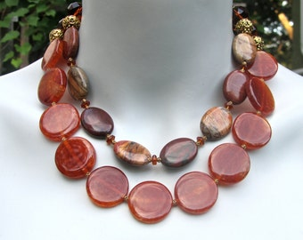 Big Bold Chunky Statement Necklace, Red Agate, Picasso Jasper, Crystal, Double Strand, Bib Necklace 819