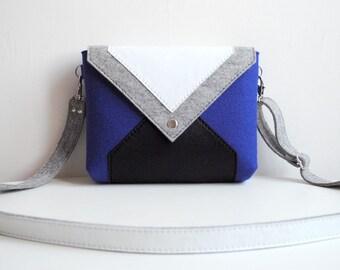 Navy Blue Gray White Black Wool Felt Genuine Leather Messenger Crossbody Bag