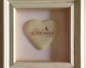 """3D Shabby Chic Frame with Fused Glass Heart """"I Love you to the Moon and Back"""""""
