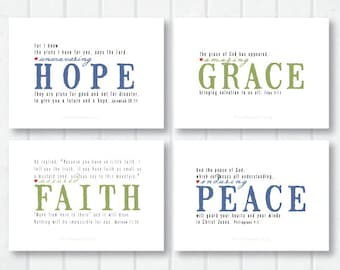 Hope . Faith . Grace . Peace . Scripture Print Set