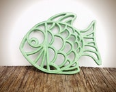 BOLD tropical fish trivet hot plate // soft mint green // shabby beach cottage chic // nautical kitchen decor