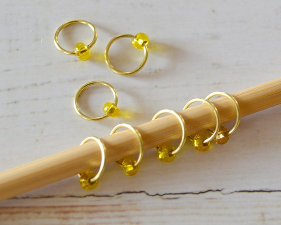 POP of Yellow / Stitch Markers - Dangle Free Snag Free Knitting Stitch Markers - Small Medium Large Sizes Available