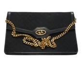 SALE - 10% GUCCI Rare 1960s Vintage Monogram Evening Bag Clutch Handbag Purse Black Signature Design