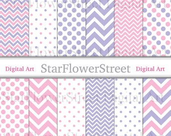 Pink and Purple Chevron Polka Dot Digital Paper Instant Download Scrapbook Background small large pattern scrapbooking photography printable