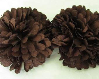 Brown Fabric Flower / Hair Flower  NO CLIPS / Pom Pom Flower / Chiffon Flower /   2pc