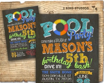 Pool party invitation - summer birthday invitation for pool party - Chalkboard invite DIY printable pool party invitation