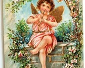 Vintage Angelic Girl Playing Flute 1909