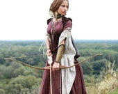 """DISCOUNTED PRICE! Medieval Renaissance Custom Linen Dress """"Archeress"""" with Chemise and Corset"""