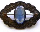 Unique Victorian Antique  VAUXHALL GLASS  British Mirror Glass Brooch Pin 1800's