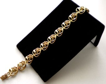Vintage HEARTS & ROSES Link Bracelet  Circa 1960,  Gift, Special Occasion, Birthday