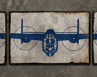 "B-24 Liberator Bomber METAL Triptych 52x11"" FREE Shipping"