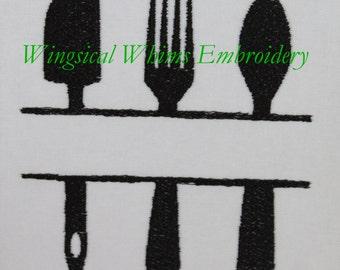Kitchen Split Design Digitized Machine Embroidery Cooking Cook Utensils