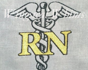 RN Registered Nurse Caduceus Digitized Machine Embroidery File ONLY Nursing