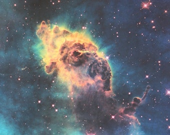 Jet in Carina Nebula 17 x 17 inches (42 x 42 cm) Hubble Photograph Astronomy Cotton Sateen Fabric