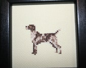 German Shorthairer Pointer Cross Stitched Full Body Dog.