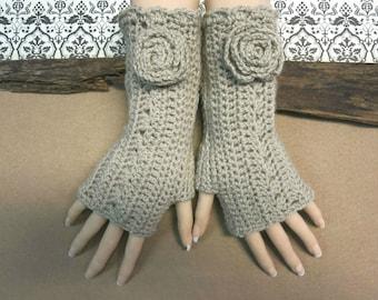 Fingerless Gloves, Crochet Arm Warmers, Pale Brown Burlesque Gloves, Wool Flower, Wrist Warmers Australia, Nchanted Gifts
