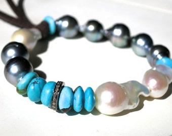 Tahitian pearl bracelet with pave diamonds,Tahitian pearls with Arizona turquoise baroque pearl coachella Bohemian stacking beachy chic