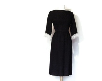 60's Ruffle Cuff Dress Textured Sheath