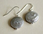 Gray Coin Pearl Earrings-...