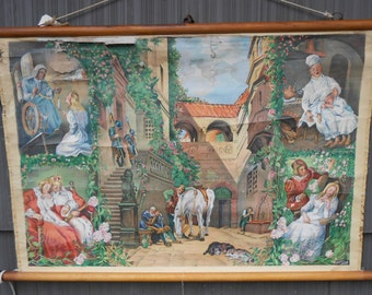 Vintage Belgian School Chart of Sleeping Beauty