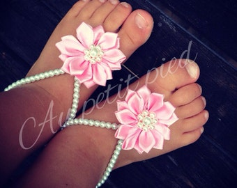 Pink flower foot petals barefoot sandals for baby and child