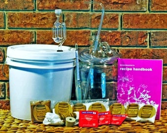 1 Gallon Wine Equipment and Ingredient Kit - Everything You Need To Make Wine With Any Fruit You Want!! -