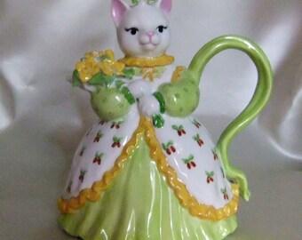 Handpainted porcelain cat-shaped teapot