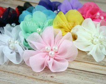 "Chiffon and Tulle Flowers with Pearl Center - 2.5"" - You Pick Any 3"