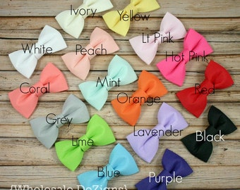 "Fabric Bows - You Choose Color & Quantity - Chiffon Tuxedo Bow - Lots of Colors - 2.5"" - DIY Headband Supplies Embellishments"