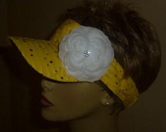 Glitzy Yellow Sun Visor with White Flower, Ladies Yellow Sequin Look Sun Visor