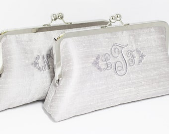 Monogrammed Silk Dupioni Clutch - Wedding Clutch - Bridesmaid Clutch