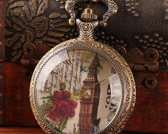 1pcs 48mmx48mm Bronze  Glass Cover pocket watch charms pendant PW185