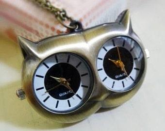 1pcs 30mmx41mm Owl Double Quartz movement pocket watch charms pendant