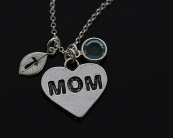 Mom Heart Necklace with initials and birthstones on sterling silver chain, Mom necklace, Initials and birthstones mom necklace, Mom gift