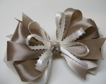 BIG Large Ivory and Taupe Simple Holiday Dressy Satin Hair Bow Toddler Girl Classic Traditional Style Photo Prop