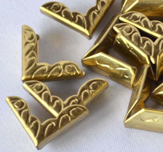 Metal book corners vintage brass pairs decorative