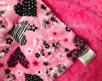 Pink Minky Toddler Blanket,Girl Minky Blanket, Pink Heart Blanket, Lap Blanket, Toddler Blanket Size 40 x 50 in