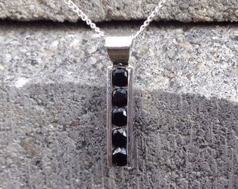 Black Spinel 5 Stone Channel-set Necklace, Sterling Silver Necklace with Black Spinel Gemstones, Bridesmaid's Gifts